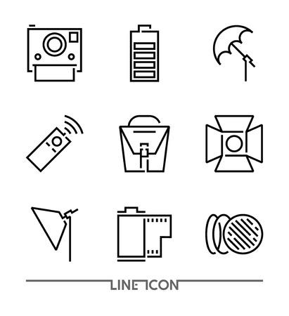 Conjunto de iconos de fotografía; Vector de iconos de línea fina plana multimedia; Accesorios para cámaras