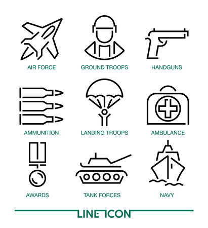 Collection of thin line icons for military war and army