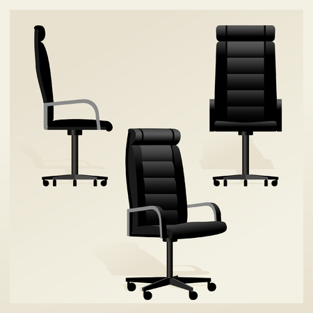 High Detailed Black leather office chair for boss vector Banque d'images - 107502856