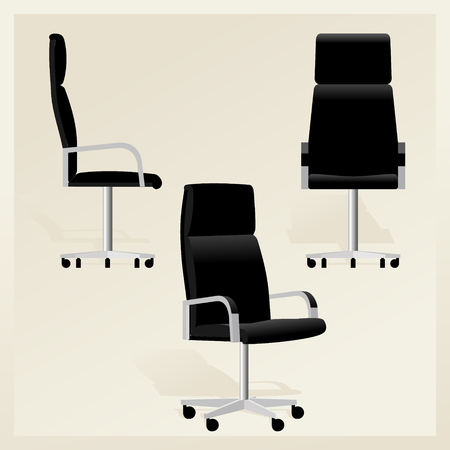 Black leather office chair for boss vector Banque d'images - 107502857