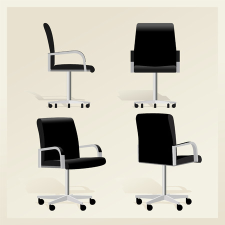 Black leather office chair vector Banque d'images - 107502862