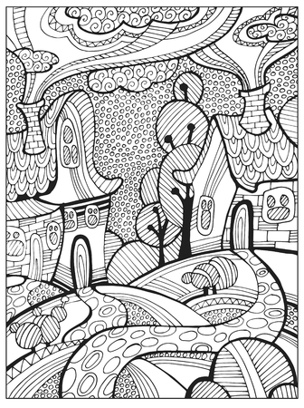 Hand drawn Difficult Adult Coloring book page for adults or kids. Uncolored vector illustration template with fantastic landscape, houses