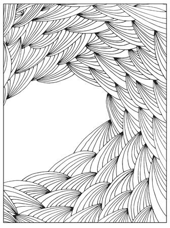 Mano disegno astratto difficile libro pagina telaio vettore