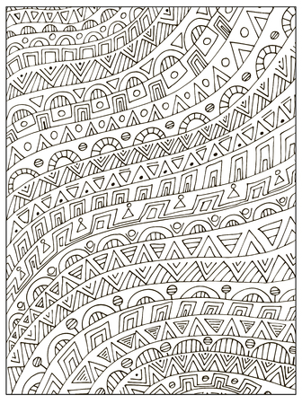 Hand drawn Uncolored geometrical Adult Coloring book page. Can be used as an adult coloring book, coloring page, card, illustration vector Ilustrace