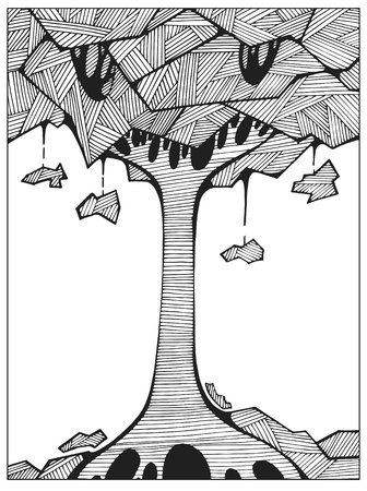 Hand drawn Uncolored Abstract tree on the hill line art for adult coloring book; Difficult coloring page