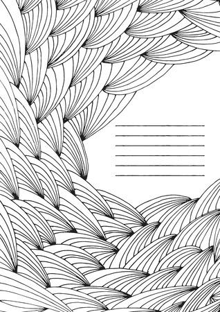 手描き難しい抽象波無色大人の塗り絵のページフレームベクトル