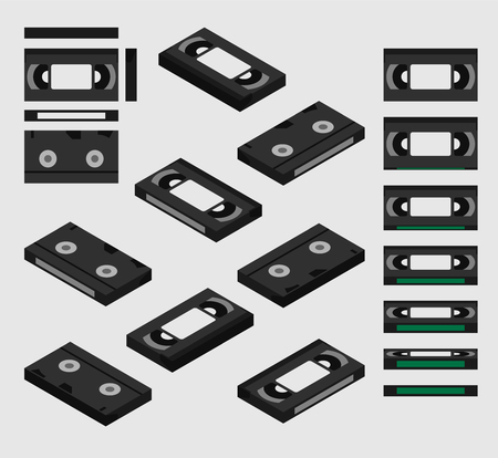 VHS video tape cassette isometric; VHS shown from different sides flat design