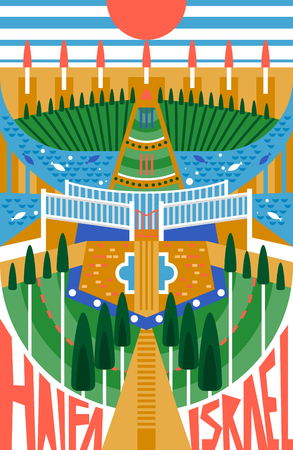 Haifa flat poster, Illustration of a city in the form of a menorah