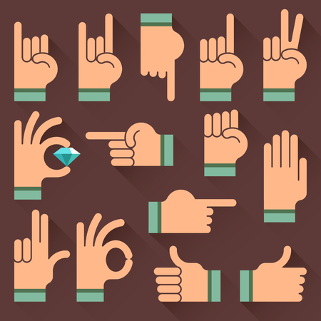 Different hands, gestures, signals flat icon; Hand gestures with jewel; Vector gesture icon set on a dark background