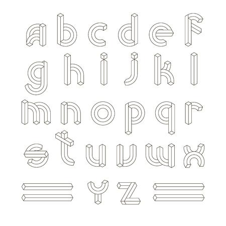 Cube Line 3D Font ABC. Impossible Geometric line Alphabet letters vector