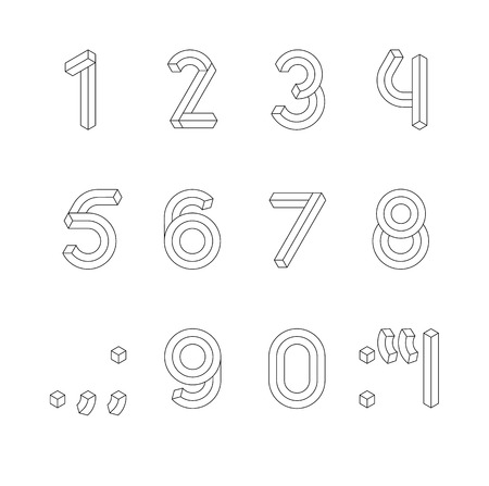 Cube Line 3D Font. Impossible Geometric set of numbers with punctuation marks vector