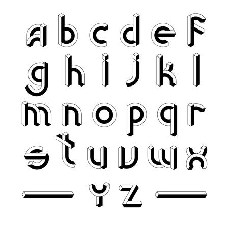 Cube Block 3D Font ABC. Impossible Geometric line Alphabet letters vector