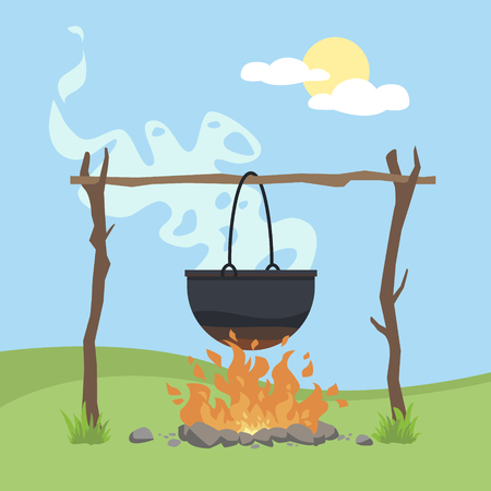 Olla de camping negra sobre una ilustración de vector de hoguera aislada sobre un fondo con hierba verde y cielo azul