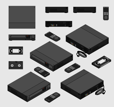 Isometric Vintage Black  , Old Video Cassette Recorder with remote control and VHS tape shown from different sides flat design 向量圖像