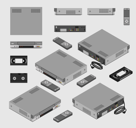 Isometric Vintage Gray , Old Video Cassette Recorder with remote control and VHS tape shown from different sides flat design