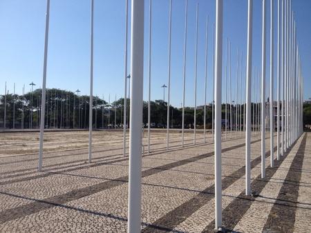 flagpoles: Field of flagpoles Stock Photo