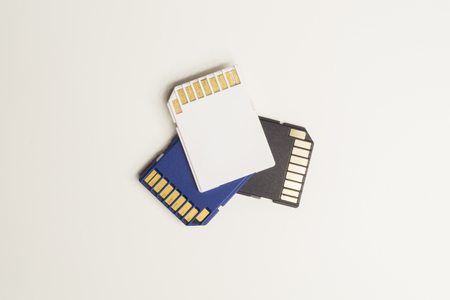 Memory cards isolated on white background. Sd card and copy space Stok Fotoğraf