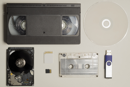Various media types. compact disc. memory card. video and audio cassette. memory stick. media types evolution Stock Photo