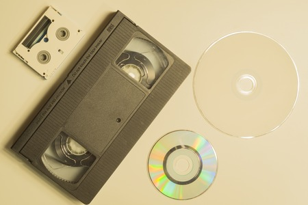 Various media types. compact disc. video tape. digital video cassette. media types evolution