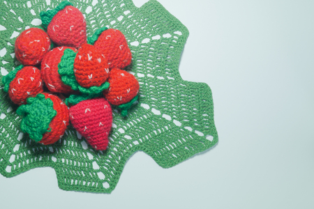 Handmade knitting wool texture background closeup needlework. healthy food concept
