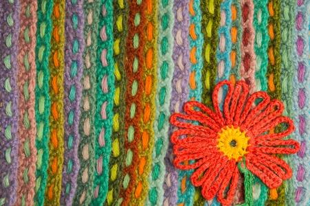 Handmade knitting wool texture background closeup needlework