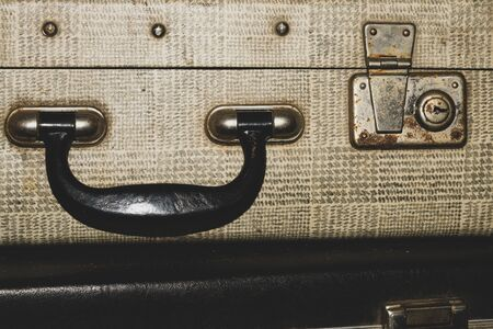 Retro suitcases. old luggage. vintage baggage. retro case background 写真素材 - 129827737