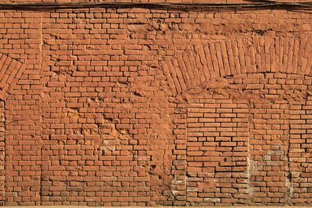 Old red brick wall texture background. ancient wall backdrop