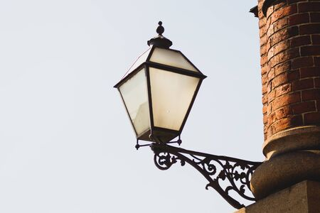 Vintage street lamp against the sky. Retro lantern. copy space
