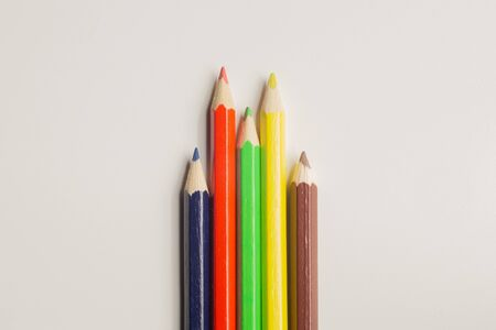 Colorful pencils isolated on white. drawing supplies