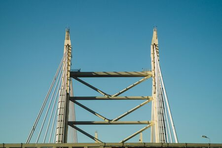 Detail of a bridge abstract background. view on the bridge part industrial background
