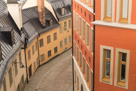 Old street with traditional houses in Stockholm, Sweden. european architecture