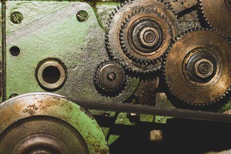 Gears of industrial machine. detail of mechanism. old cogwheels. mechanical parts of machinery