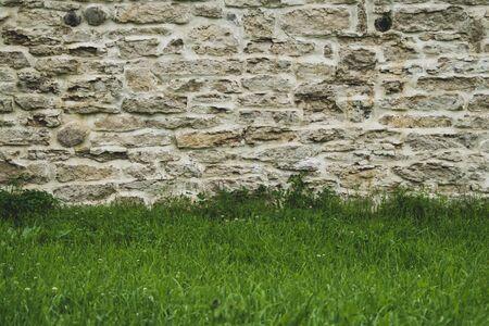 Brick wall and green grass. stone wall background. old masonry