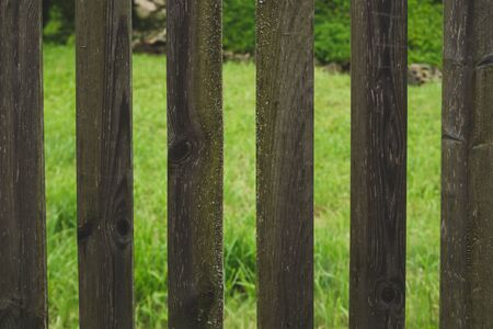 Wooden fence with gaps between the planks. courtyard behind the fencing
