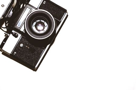 Vintage camera on white background. copy space