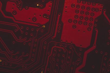 Circuit board abstract background. computer motherboard close up. modern technologies. micro elements of computer with connections and traces. Intelligent technology