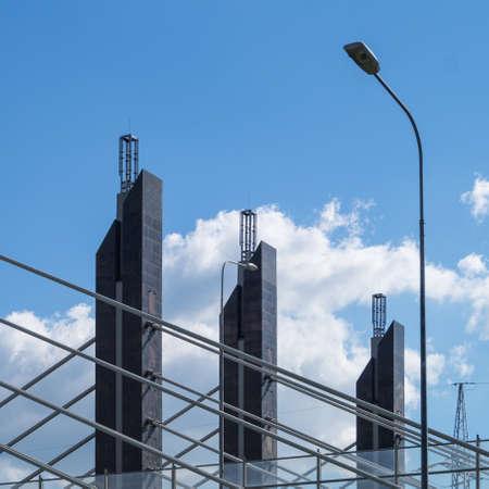 Pillars of the suspension bridge. urban background Stock Photo