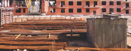 Metal rebar. steel reinforcement on the construction site. industrial works