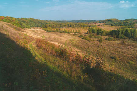 Countryside valley aerial view. autumn landscape