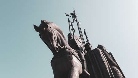 Monument In memory of the Ledovoye Battle located in the city of Pskov in Russia. stone horse