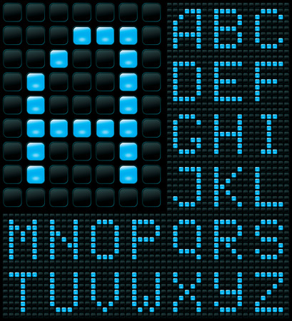 dot matrix display with alphabet Vector