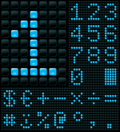 dot matrix display with digits and symbols Vector