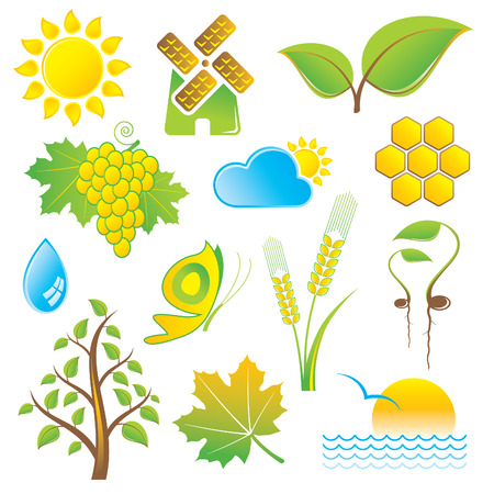 water mill: set of nature icons Illustration