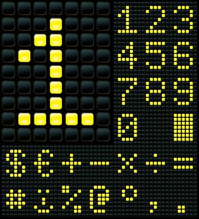 dot matrix display with digits and symbols Stock Vector - 6994310