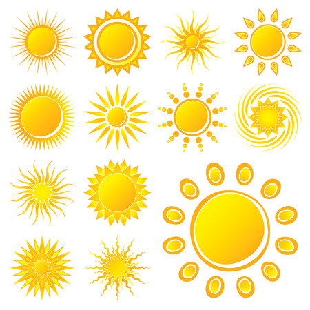 Suns on White Background Vector