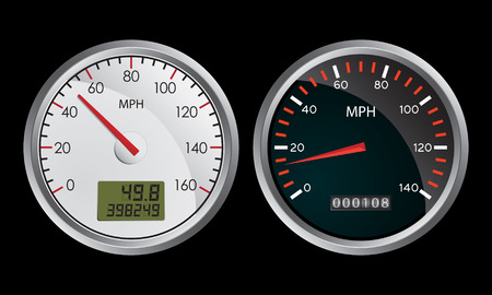 speedometers on black background Stock Vector - 6994252