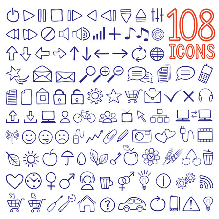 hand-drawn icon set Vector