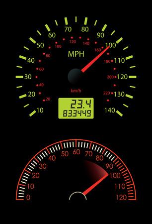 miles: Dashboard Dial on Black Illustration