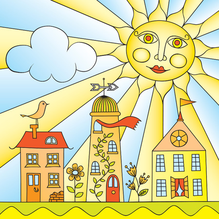 Childs Drawing of City under Sun Vector