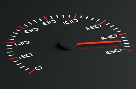 3d illustration of black speedometer